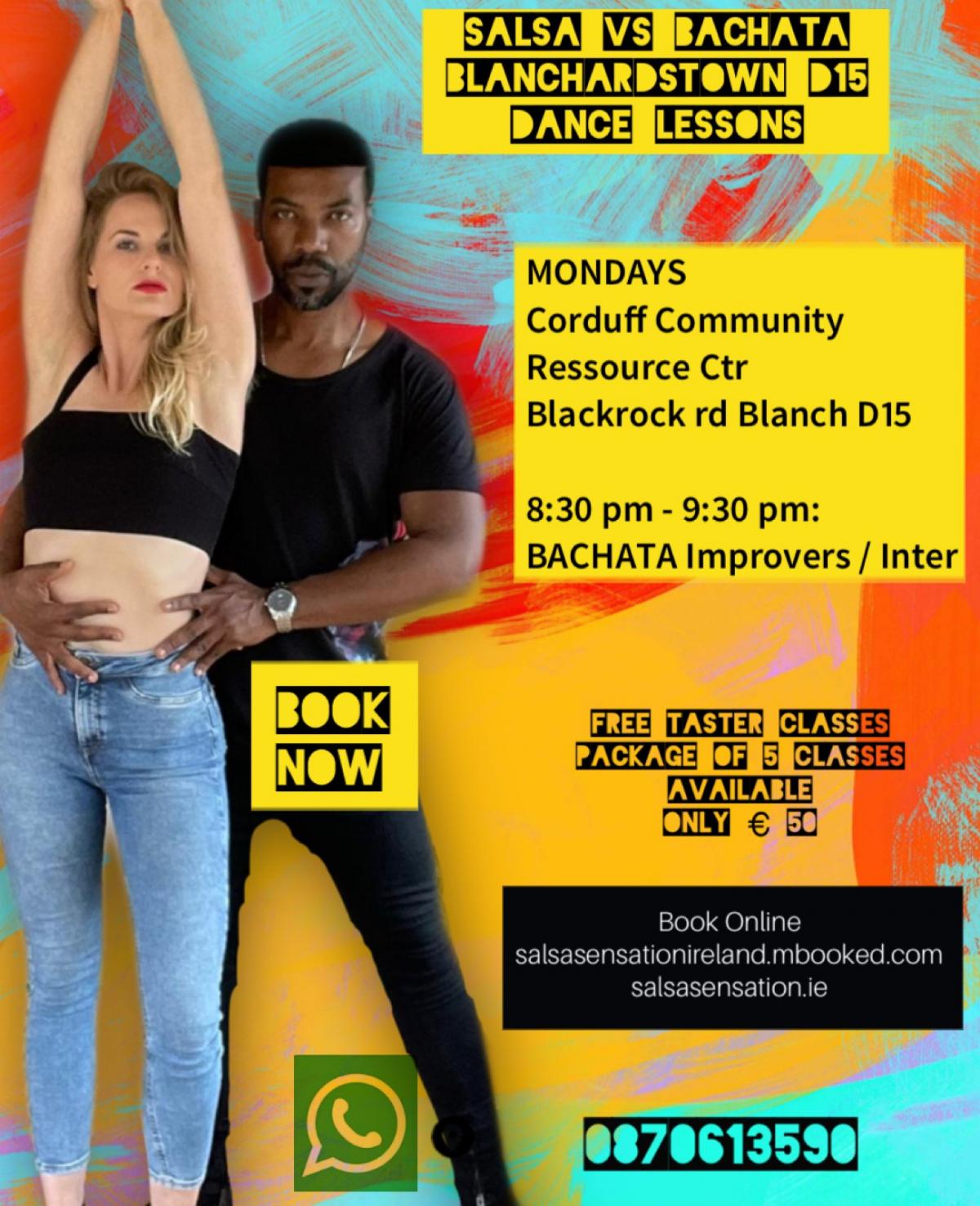 mBooked.com, Mondays | Bachata Imp - Int | 8:30pm - 9:30pm | Blanch D15 | 5 weeks, Blanchardstown D15, Salsa Sensation Ireland